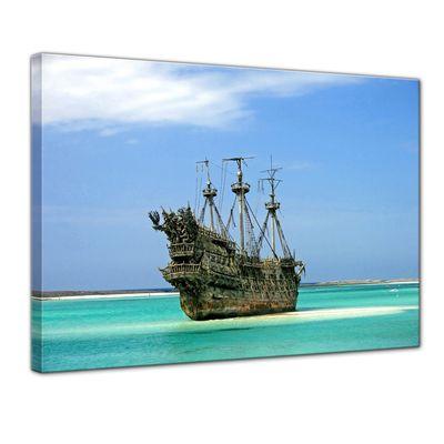 Leinwandbild - Piratenschiff in der Karibik – Bild 1