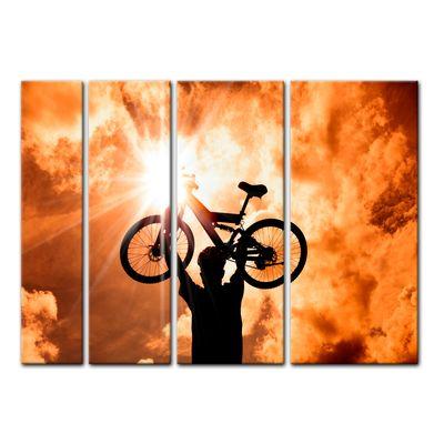 Leinwandbild - Silhouette - Mountainbiker – Bild 14