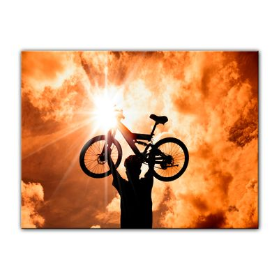 Leinwandbild - Silhouette - Mountainbiker – Bild 3