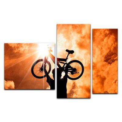 Leinwandbild - Silhouette - Mountainbiker – Bild 12