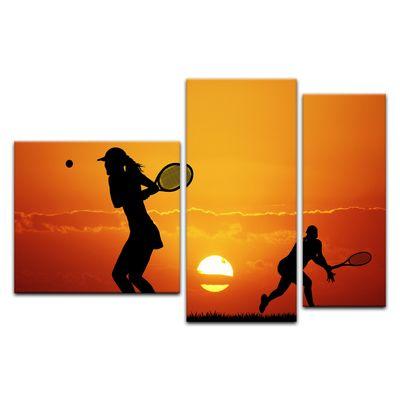 Leinwandbild - Silhouette - Tennis – Bild 12
