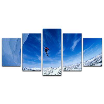 Leinwandbild - Skifahrer im Sprung – Bild 8
