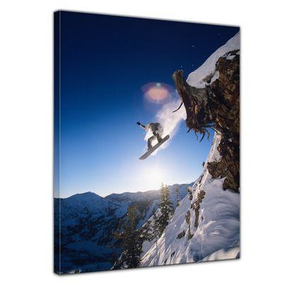 Leinwandbild - Snowboarder im Sprung – Bild 1