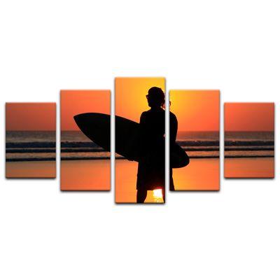 Leinwandbild - Surfer im Sonnenuntergang – Bild 9