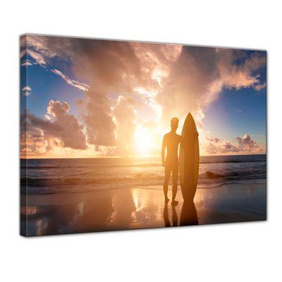 Leinwandbild - Surfer im Sonnenuntergang II – Bild 1