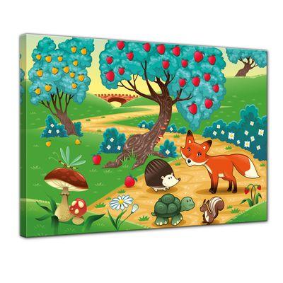 Leinwandbild - Kinderbild - Tiere im Wald – Bild 1