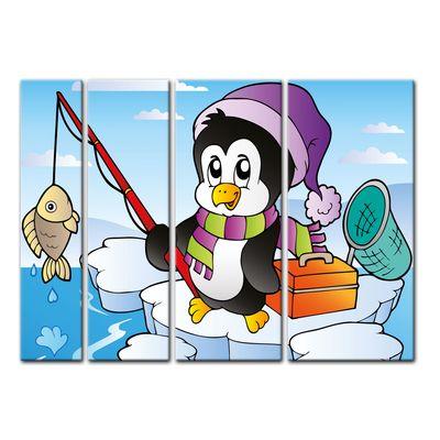 Leinwandbild - Kinderbild - fischender Pinguin – Bild 8