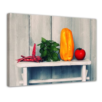 Leinwandbild - Paprika und Basilikum