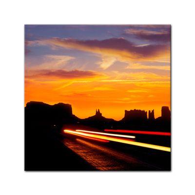 Leinwandbild - Sonnenuntergang über dem US Highway 163 - Monument Valley – Bild 2