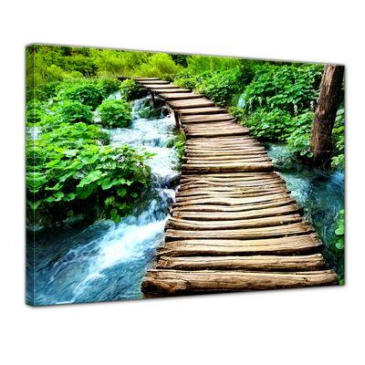 Leinwandbild - Brücke über einen Fluß – Bild 1