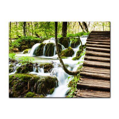 Leinwandbild - Holzbrücke über einem Wasserfall – Bild 3