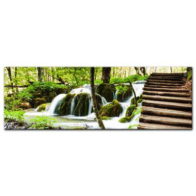 Leinwandbild - Holzbrücke über einem Wasserfall – Bild 6