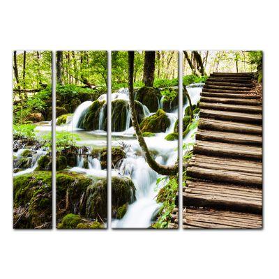 Leinwandbild - Holzbrücke über einem Wasserfall – Bild 9