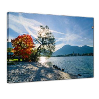 Leinwandbild - Schöner Morgen am See – Bild 1