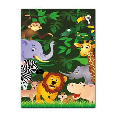 Leinwandbild - Kinderbild - Lustige Tiere im Dschungel - Cartoon – Bild 3