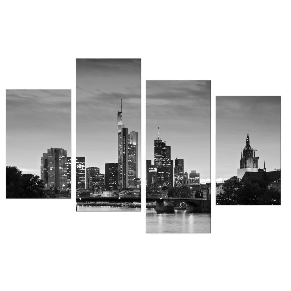 Leinwandbild Deutschland bei Nacht Frankfurt Skyline schwarz weiß Deutschl