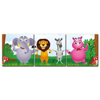 Leinwandbild - Kinderbild - Dschungeltiere Cartoon – Bild 4