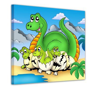 Leinwandbild - Dino Kinderbild - Mama mit Baby – Bild 1