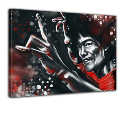 Leinwandbild - Bruce Lee in rot  – Bild 1