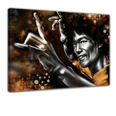 Leinwandbild - Bruce Lee in gelb