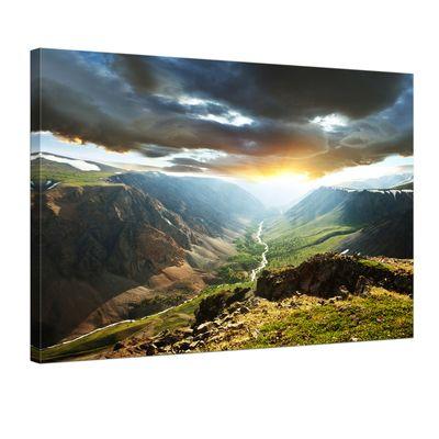 Leinwandbild - Berge mit Sonnenuntergang
