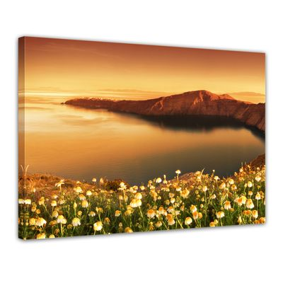 Leinwandbild - Sonnenaufgang über Santorini - Griechenland – Bild 1