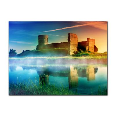 Leinwandbild - Alte Burgruine im Sonnenuntergang – Bild 2