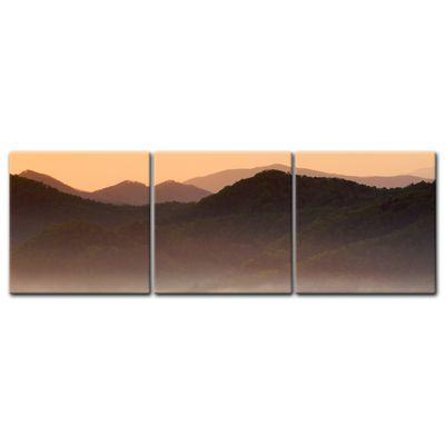 Leinwandbild - Nebeliges Tal und Berge im Sonnenuntergang, USA – Bild 5