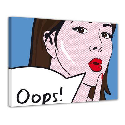 Leinwandbild - Pop-Art Oops Frau  – Bild 1