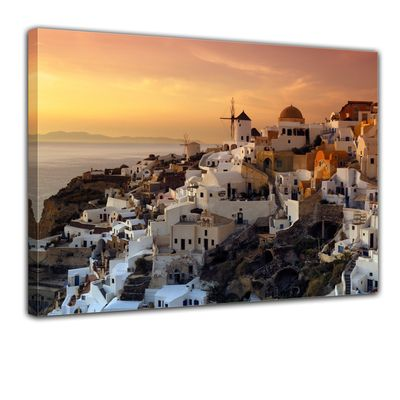 Leinwandbild - Santorini im Abendrot – Bild 1