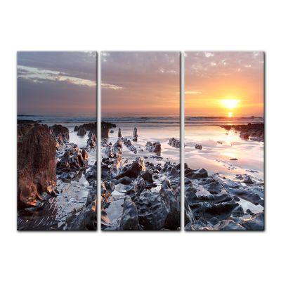 Leinwandbild - Sonnenuntergang Küste Woolacombe North Devon, England – Bild 5