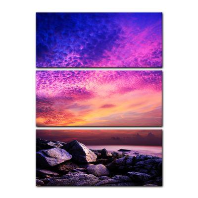 Leinwandbild - Sonnenuntergang über Felsenküste – Bild 6