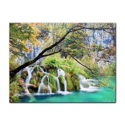 Leinwandbild - Wasserfall im Herbst – Bild 2