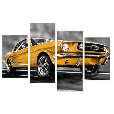 Leinwandbild - Mustang Graphic - gelb – Bild 3