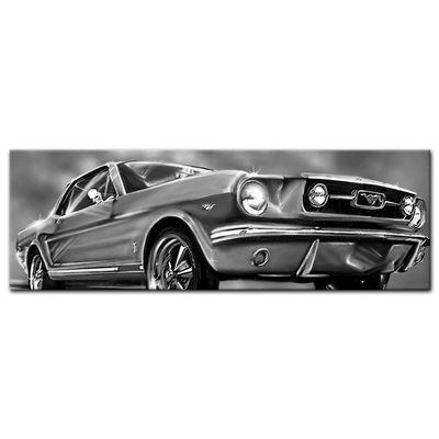 Leinwandbild - Mustang Graphic - schwarz weiß – Bild 5