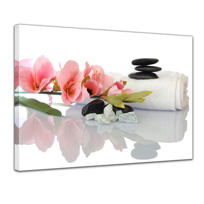 Leinwandbild - Gladiole und Zensteine – Bild 1