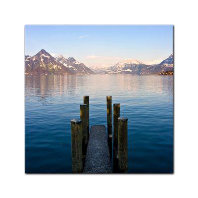 Leinwandbild - Steg am Bergsee – Bild 2