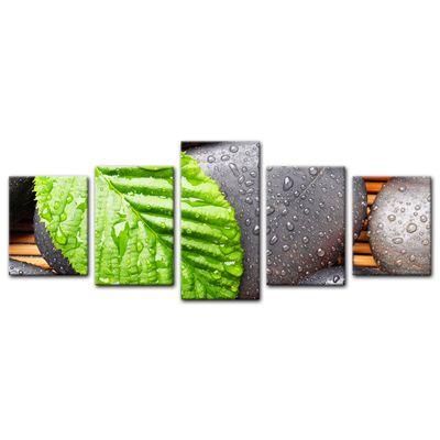 Leinwandbild - Zen Steine mit Blatt – Bild 9