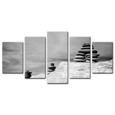 Leinwandbild - Zen Steine - schwarz weiß – Bild 12