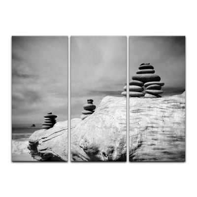 Leinwandbild - Zen Steine - schwarz weiß – Bild 8