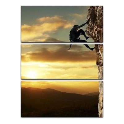 Leinwandbild - Bergsteiger im Sonnenuntergang – Bild 10