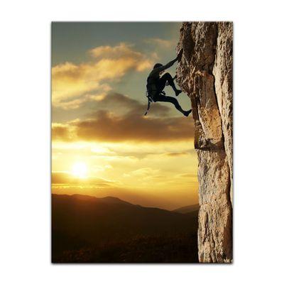 Leinwandbild - Bergsteiger im Sonnenuntergang – Bild 5