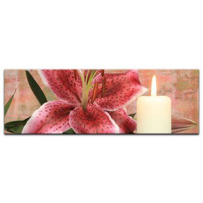 Leinwandbild - Lilienblüte mit Kerze – Bild 2