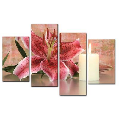 Leinwandbild - Lilienblüte mit Kerze – Bild 15