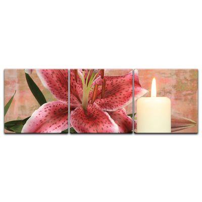 Leinwandbild - Lilienblüte mit Kerze – Bild 8