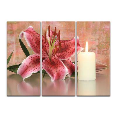 Leinwandbild - Lilienblüte mit Kerze – Bild 9