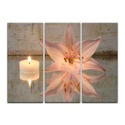 Leinwandbild - Lilie und Kerze – Bild 5