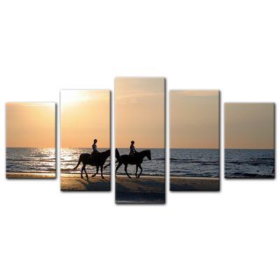 Leinwandbild - Reiter im Sonnenuntergang – Bild 11