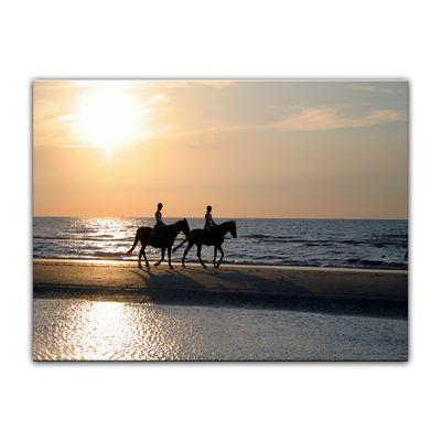 Leinwandbild - Reiter im Sonnenuntergang – Bild 3