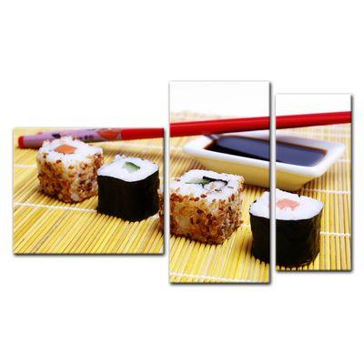 Leinwandbild - Sushi mit Stäbchen und Sojasoße – Bild 12